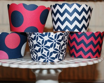 Preppy Hot Pink and Navy Cupcake wrappers