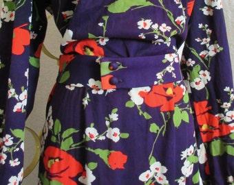 Vintage 1970s Lilli Diamond Floral Maxi Dress Belted Large