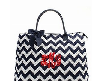 Personalized Chevron Large Tote Bag Navy & White with Navy Trim Quilted Overnight Bag Monogrammed FREE