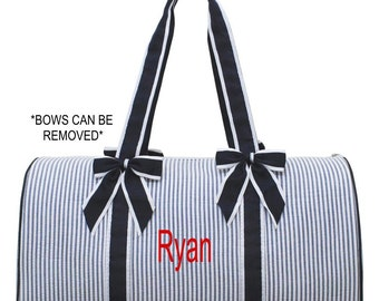 Personalized Large Seersucker Duffel Bag Gym Dance or Overnight Navy and White great for Boys or Girls - Monogram FREE