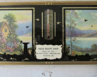 Framed Salesmen Sample, Calendar and Thermometer, 1949, Unused Covered Box , Silhouettes, Wall Hanging,