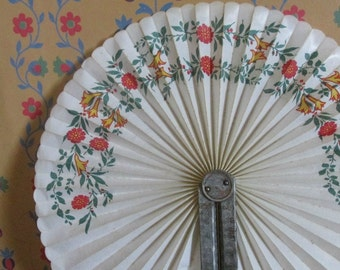Antique, Round Hand Fan, Red and Yellow Flowers, Circle Fan, White Hand Fan, Initialled Folding Fan, Womens  Acessories