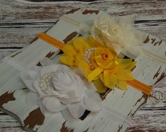 Newborn Headband, Baby Girl Headband, White, Ivory, Yellow, Chiffon Rosette, Pearls, Photo Prop, Hair Accessory