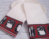 SALE 50% OFF--A Set of 2 Gourmet Kitchen Towels, trimmed with up-cycled tea towels.