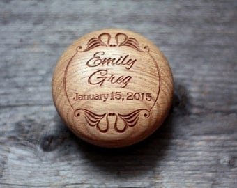 Wood Wedding ring box Wedding ring pillow alternative Wedding ring holder Wedding ring bearer Personalized ring box Engraved Wedding gift