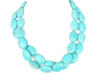 Turquoise Oval Necklace - 2 Strand Turquoise Statement Necklace - Chunky Turquoise Necklace