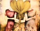 Three blonde sisters vintage  art print