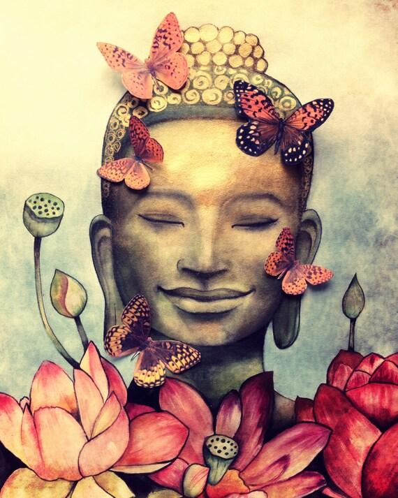 smiling buddha art print