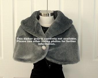 Faux Fur Stole Bridal Wrap Cape Shrug Plush Light Silver Gray Faux Fur