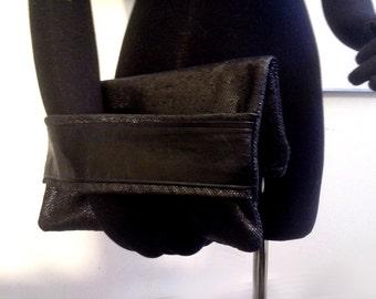 Folded Clutch Black Shiny Twill with a Leather Arm Band