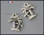 1 Palm TREE Charm Pendants - 18mm Antiqued Silver Vacation BEACH Coconut Tree Nickel free Pendant Charm - Instant Shipping - USA - 6142