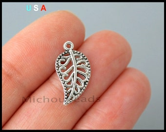 1 LEAF Charm Pendant - 18mm Antiqued Silver Leaves Floral Nature Dangle Pendant Charms - Instant Ship - USA - 6274