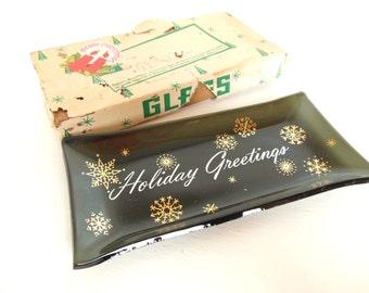 Vintage Glass Ashtray Houze Art Black Holiday Greetings Gold 70's Original Box (item 11)