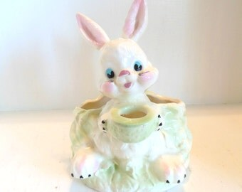 Vintage Rabbit Planter Vase Pastel Nursery Cottage Chic 50's (item 8)