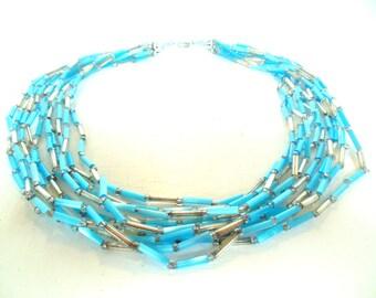 "Vintage Glass Aqua Silver 10 Strand Bugle Bead Necklace  60's 18"" ( item 12)"