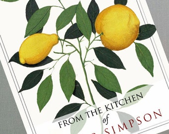 From the Kitchen of Sticker with Vintage Lemon Botanical, set of 18