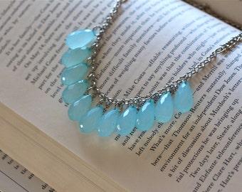 Baby Blue Acrylic Bubble Bib Necklace