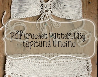 PDF, Crochet PATTERN for Haliai Crochet Bikini Top and Hipster Bottom, Sizes XS-L