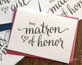 To My Bridesmaid, Maid of Honor, Wedding Party Wedding Thank You Cards- Thank You Bridesmaid Card, Matron of Honor, Flower Girl (Set of 4)