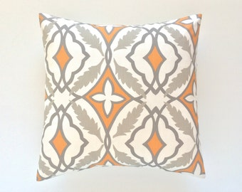 CLEARANCE 70% OFF Orange Throw Pillow Cover. 16X16 Inches. Decorative Couch Pillow Cushion Cover. Orange and Taupe