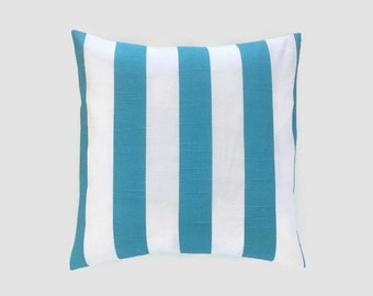 CLEARANCE 50% OFF Blue Stripes Pillow Cover. Pick a Size. Coastal Blue and White. Beach Decor Cushion Cover