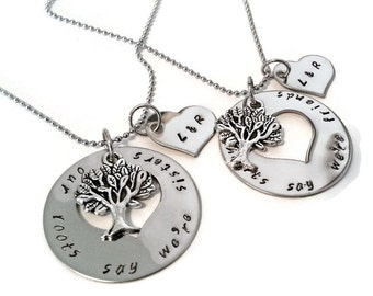 Matching Sister necklaces, necklace SET for sisters, sister jewelry, our roots say we're sisters our hearts say we're friends