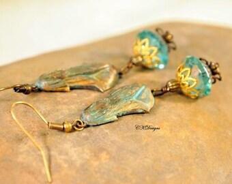 Rain Storm Earrings, Verdigris Patina Brass, Czech Glass Beads, Cottage Chic Dangle Pierced Earrings. OOAK Handmade Earrings. CKDesigns.US
