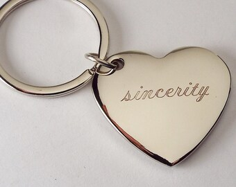 Custom Engraved Personalized High Polish Silver Heart Keychain  - Hand Engraved