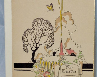 Hand Painted Gilded Art Deco Easter Card 1920's Unused