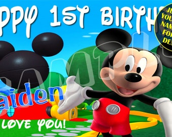 Mickey Mouse Club House Personalized Custom Birthday Banner Party Decoration