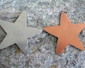 "2 Large Star Stamping Blanks, Aluminum or Copper, 1 3/4"" Pendant Size,  Ready to Ship!"