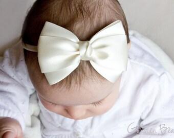 Baby Ivory Emma Bow Clip OR Headband - Flower Girl Headband - Baby Satin Bow - Girls Satin Bow - Bun Hair Bow - Baby to Adult Headband