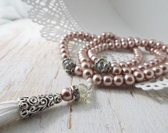 Pearl Tasbih Tasbeeh 99 beads Ramadan muslim Eid Gift prayer bead Islamic wedding Tesbih Misbah
