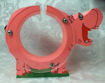 Happy Pink Hippo Wooden Coin Bank - Free personalization