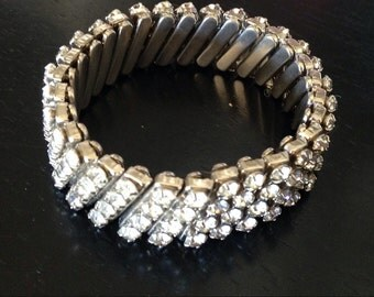 Rhinestone Studded Watchband Bracelet