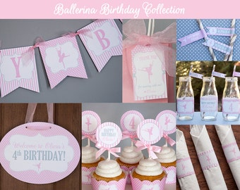 Ballerina Birthday Decorations, Ballerina Party, Ballerina Birthday Party, Ballet Birthday - Ballet Party - Personalized Printable PDF Files