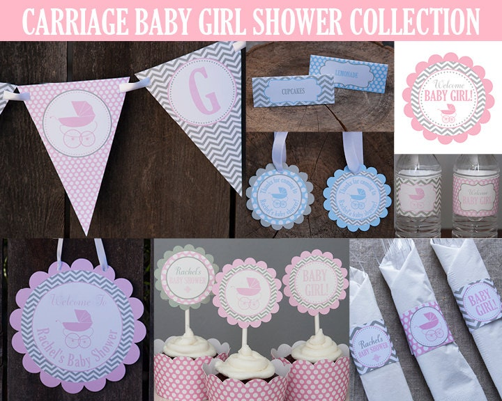 Carriage baby shower decoration party package girl baby for Baby shower decoration packages