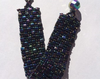 Black rainbow peyote hand stitched bracelet
