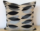 Black & Grey contrasting LEAF VELVET cushion cover on natural linen. Sanderson fabric MIRO, Square cushion cover in custom order sizes.