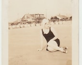 Vintage/ Antique beautiful Photo of a woman in a vintage bathing suit and a swimming cap