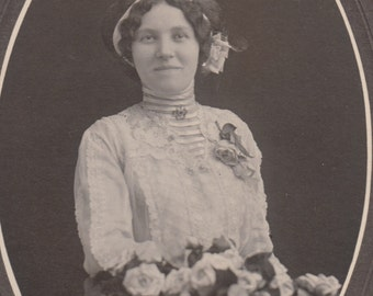 Vintage/ Antique beautiful cabinet  Photo of a woman in a dress with a wavy hair.