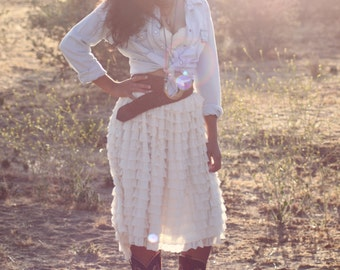 The Ruffled Bride // Hi-Lo Skirt / Ruffled / Ready to Ship / Ivory / Cowgirl / BoHo / Wedding