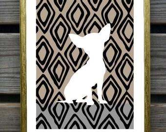 Chihuahua Art Print - Dog artwork, Chihuahua Silhouette on IKAT background, Modern wall art