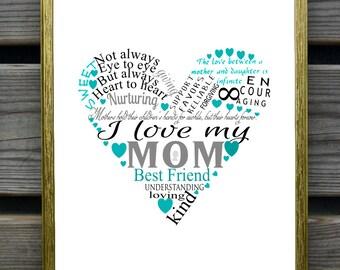 heart art print, Mothers day gift, printable gift for mom, subway art, caligraphy