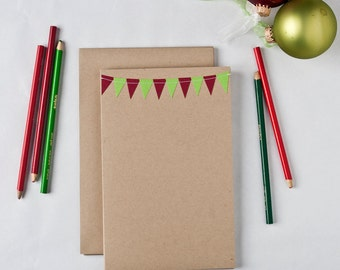 Kids Christmas Cards Letters to Santa Childrens Holiday Cards Red and Green Bunting Flag Cards Grandparents Gifts Under 10 Stocking Stuffer