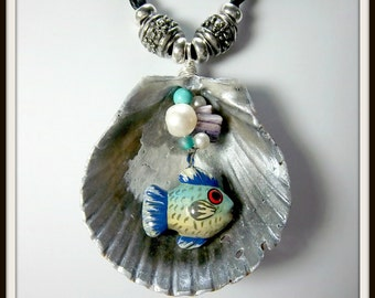 Shell and Fish Necklace, Freshwater Pearl, Ceramic Fish, Silver Beads, Black Cord