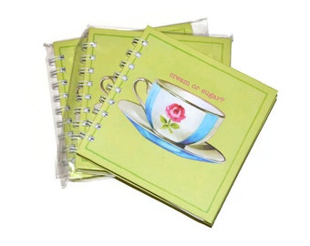 Hardcover Blank Journals Set of Three 5x5 Green Tea Cup Blue Cream and Sugar