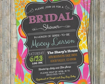 Chalk bridal shower invitation, colorful watercolor flowers on chalkboard, colored chalk, printable, digital file