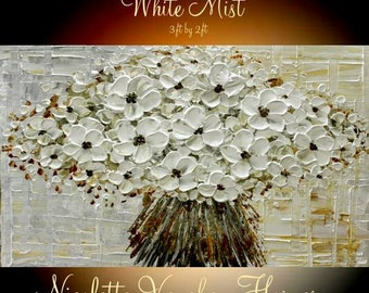 Abstract ORIGINAL 3ft x 2ft   gallery wrap canvas-Contemporary impasto  abstract White floral blossom painting by Nicolette Vaughan Horner