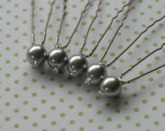 Silver pearl hair pins. Pearl hair accessories.